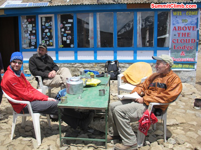 Chris, Adam, and Don enjoy a delicious lunch break at Above the Clouds hotel in Lobuche. Monika Witkowska Photo.