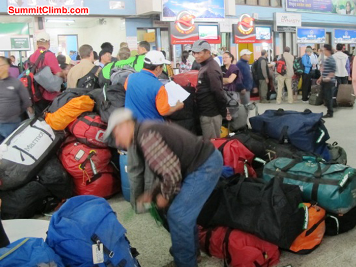 Baggage mayhem in the Kathmandu domestic airport. Photo Anne-Mari Hyrylainen.