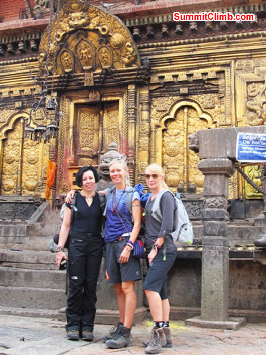 Violetta, Anne-Mari, and Marie at the Monkey Temple.