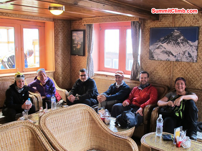 Violetta, Anne-Mari, Slavo, Don, Chris, and Michelle relaxing at Starbucks in Lukla.