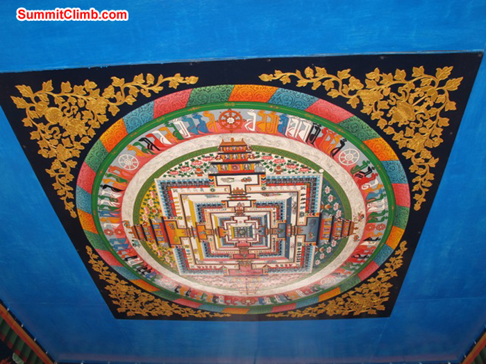 Decorated ceiling in the Tyengboche monastery. Photo Anne-Mari Hyrylainen.