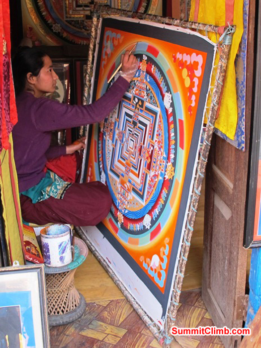 Skilled artist creates a Thangkha painting in Kathmandu. Photo Anne-Mari Hyrylainen.