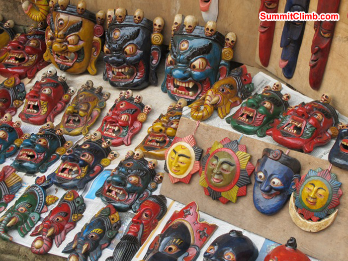 Colourful masks for sale in a Kathmandu market. Photo Anne-Mari Hyrylainen.