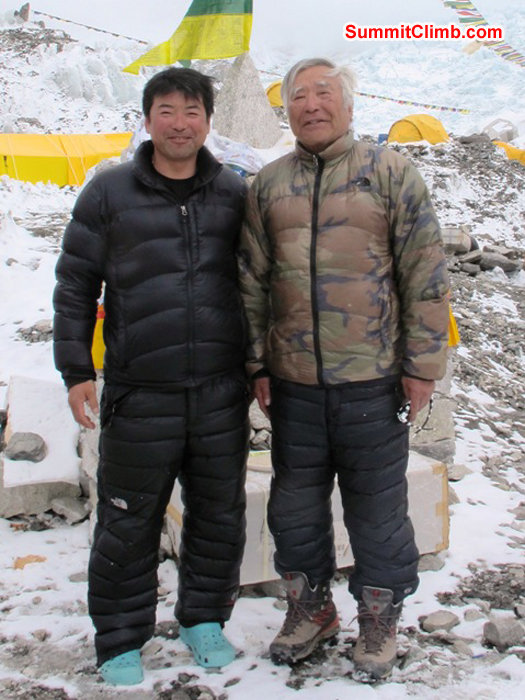 Yuichiro Miuro is trying to become the oldest man to reach the summit of Everest at age 81. Here he is with his son. Monika Witkowska Photo.