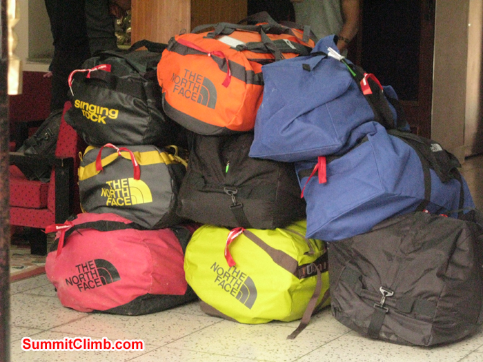Members duffle bags are ready to load to truck. Photo Rares Voda