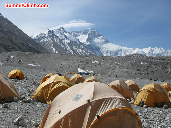 Our tents at Chinese base camp with clear view of Mount Everest. Photo Rares Voda