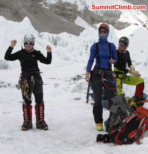Violetta, Sandra, and Anne-Mari enjoying a beautiful day of ice climbing practice. Monika Witkowska Photo.