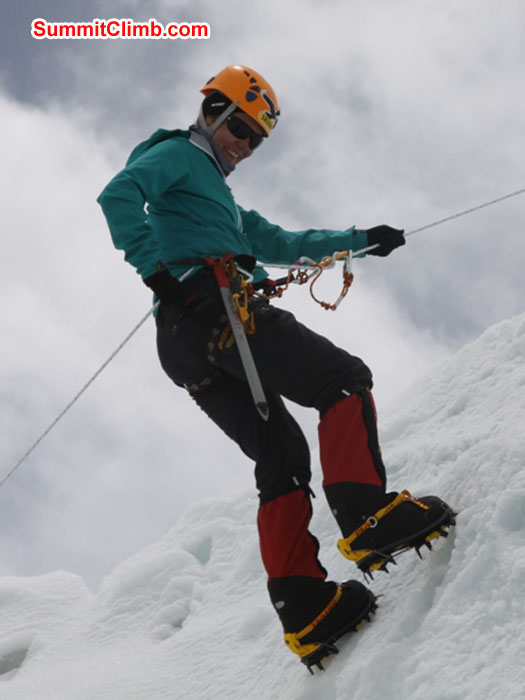 Monika Witkowska climbing ice in the Khumbu Glacier. Anne-Mari Hyrylainen Photo