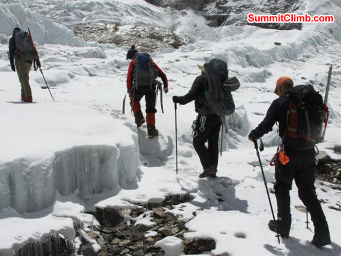Team walking into the Khumbu Glacier for iceclimbing practice. Monika Witkowska Photo.