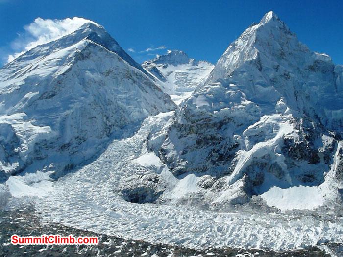 View of Everest, Lhotse, Nuptse, Khumbu Icefall from Pumori ABC. Photo by Monika Witkowska.