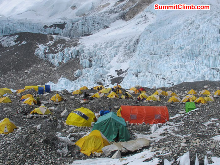 Camp 2 at 6400 metres - 20,992 feet, perched on a moraine on the side of the western cwm. Photo by Monika Witkowska