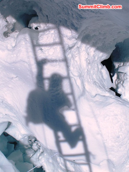 Monika Witkowska photographed her shadow while climbing across a ladder in the Khumbu Icefall. Her shadow is hitting the bottom of the crevasse at appx 15 m - 50 ft depth.