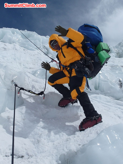 Sange Sherpa in the Khumbu Icefall. he is clipped to the rope. Monika Witkowska Photo
