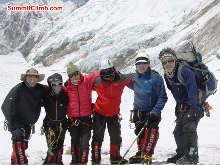 Scott, Violetta, Monika, Slavo, Kieran, and Don on an acclimatization walk to the base of the Lhotse Face. Photo Adam Dixon