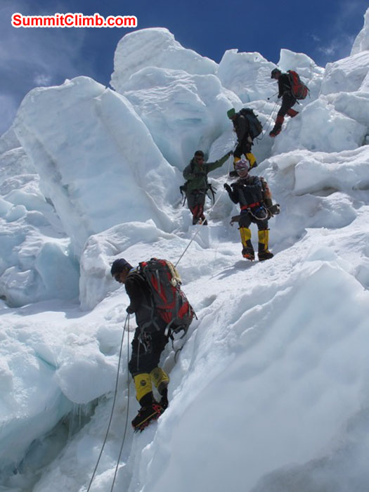 Sherpas at work in the icefall. Monika Witkowska Photo