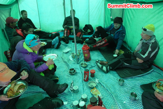Team enjoys delicious dinner in the camp 2 dining tent. Monika Witkowska Photo