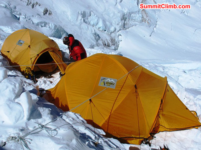 Tents in camp 3 on the Lhotse Face at 7000 metres, 23,000 feet. Monika Witkowska Photo