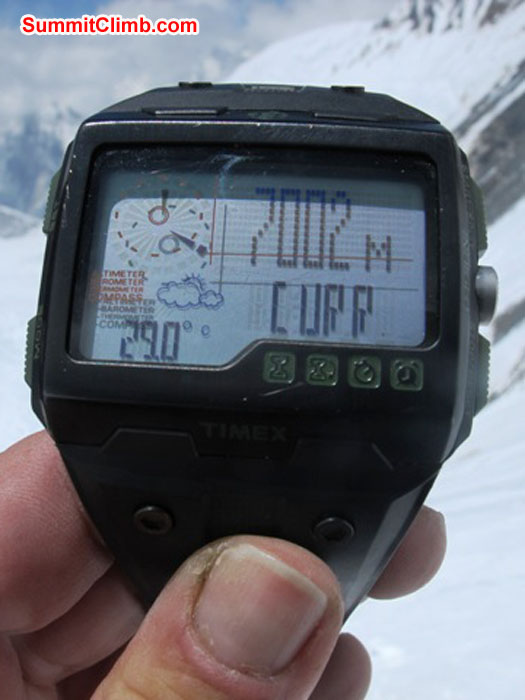 Altitude readout on Monika Witkowska's watch in camp 3.