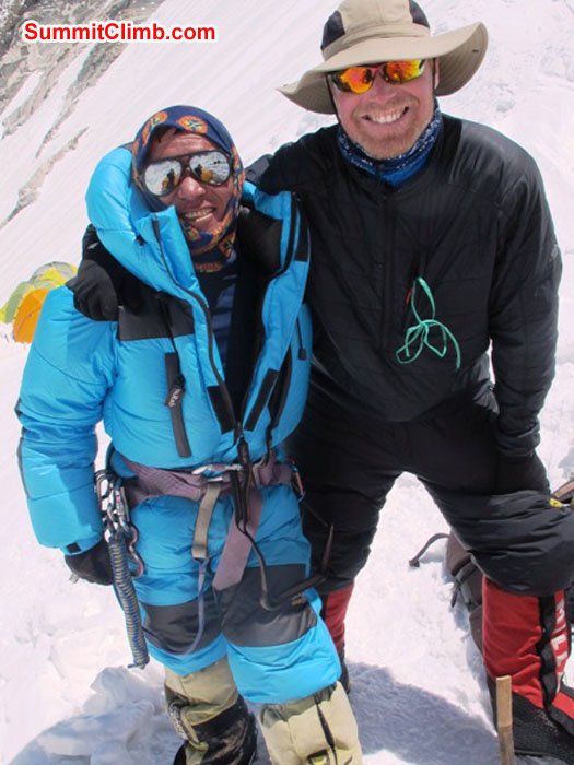 Jangbu Sherpa, 14 Everest ascents, with Scott Smith, aspiring Everest climber. Photo taken in camp 3 by Monika Witkowska.