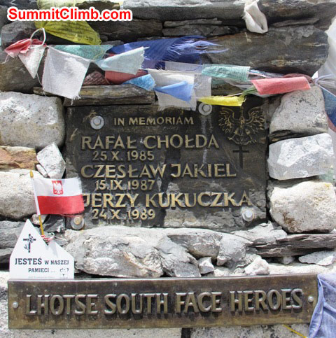 Jerzy Kukuczka's memorial at Chukkung Village. He climbed all 14 8000 metre/ 26,000 foot peaks in winter and-or by difficult routes. An amazing hero. Photo Monika Witkowska.