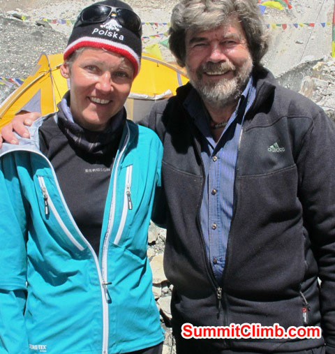 Monika Witkowska and Rheinhold Messner in basecamp. Rheinhold Messner is probably the greatest living 8000 metre -26,000 foot climber of all time. This photo was taken on 9 May, 2013, by an Austrian camerman just before Mr. Messner was asked to leave basecamp by the authorities, because he had no permit.