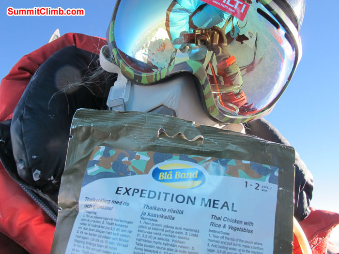 High altitude food showing by Anne-Mari Hyrylainen - Finland Summit Lhotse. Photo Anne