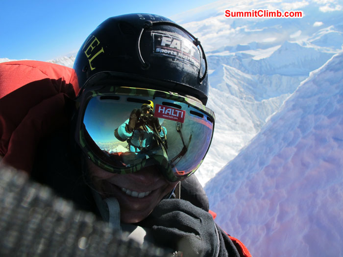 Lakpa Kongle Sherpa capturing Anne-Mari Hyrylainen photo on the summit of Lhotse - Finland. Photo Anne