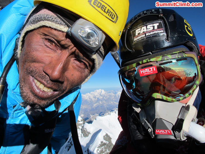 Anne-Mari Hyrylainen & Lakpa Kongle Sherpa summit of Lhotse. Finland. Photo Anne