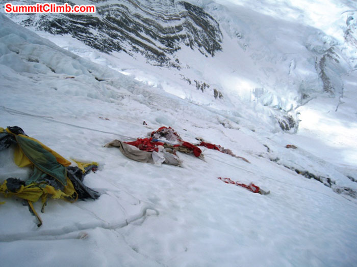 Wrecked tents on the Lhotse face. Scott Smith photo.
