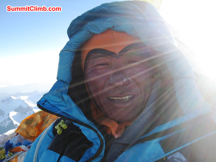 Jangbu Sherpa on his 14th summit of Everest. Photo by Scott Smith.