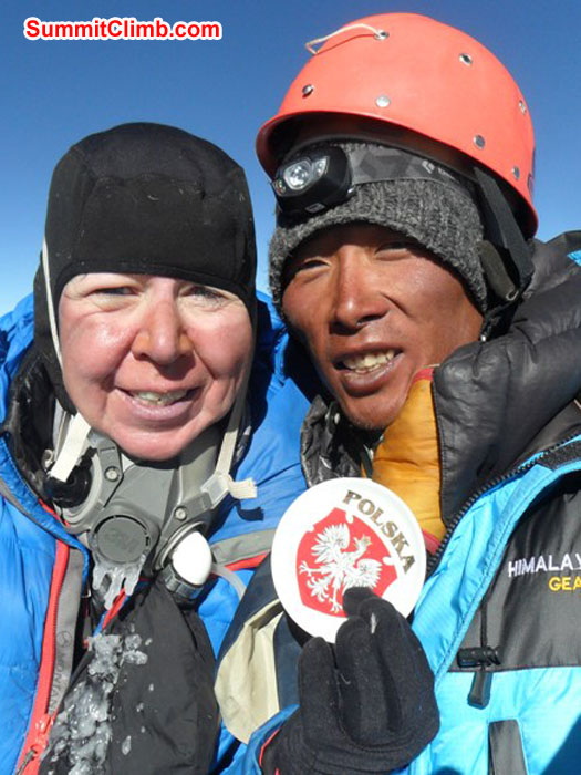 Violetta Pontinen and Pasang Sherpa on the Summit of Lhotse. Pasang Sherpa Photo.