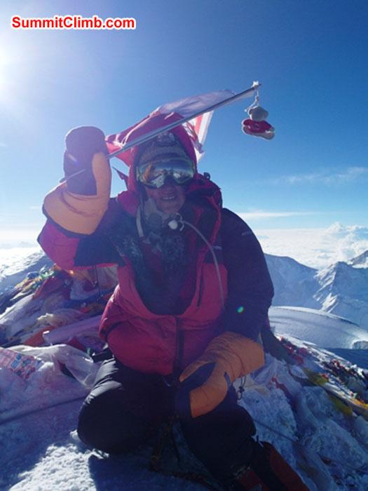 Monika Witkowska on the summit. Photo by Kieran Lally.