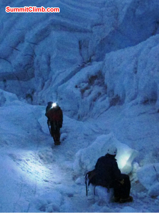 Night climbing in the Khumbu Icefall, on the final trip to the summit. Monika Witkowska Photo.