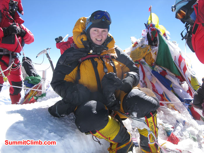 Rikke Hojland summit of Everest on 23nd May 2013. Photo Rikke