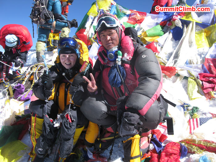 Summit of Everest on 23nd May 2013, Rikke Hojland and Ang Dorjee Sherpa. Photo Rikke