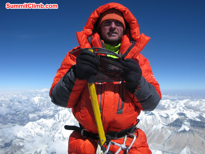 Rikke Hojland summit of Everest on 22nd May 2013. Photo Rikke