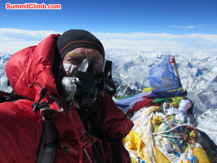 Self shot at summit of Everest. Photo David O'Brien