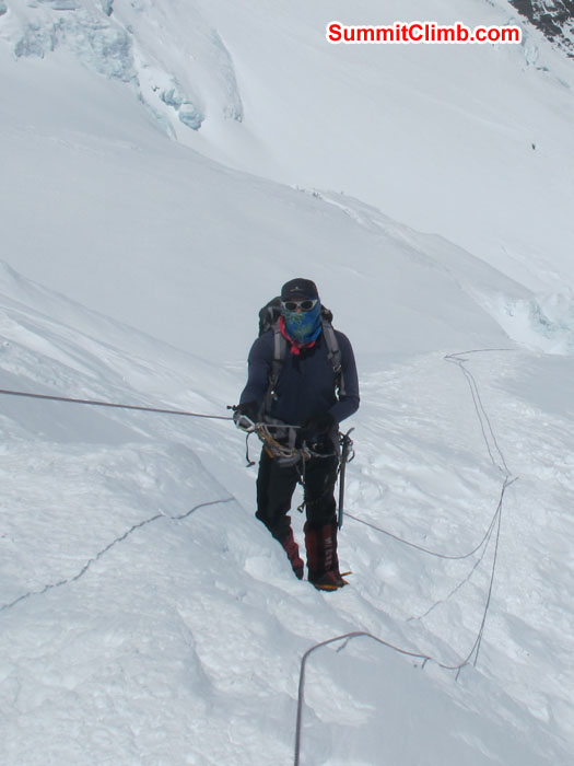 Member climbing up at North Col. Photo Chris Bailley