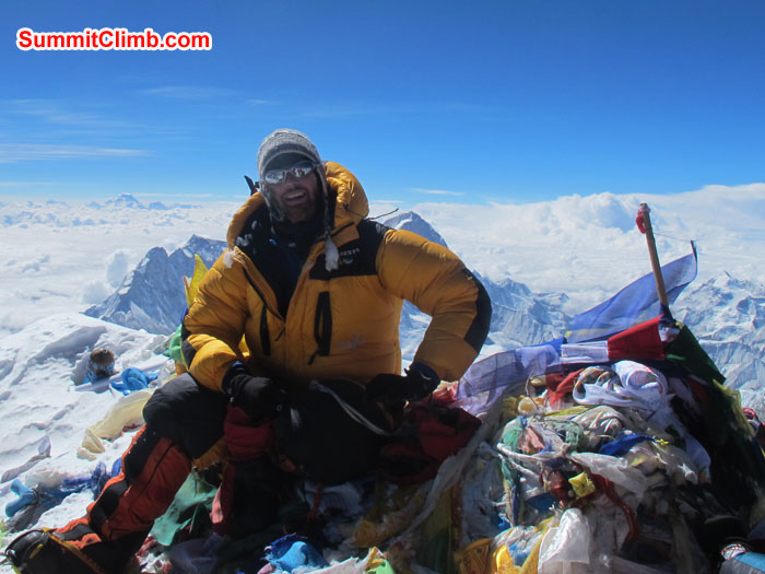 Chris Bailley at the summit of Everest. Photo Chris