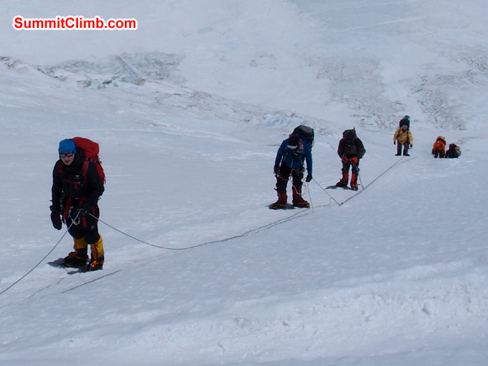 Members using fixed rope while going up to North Col. Photo martin