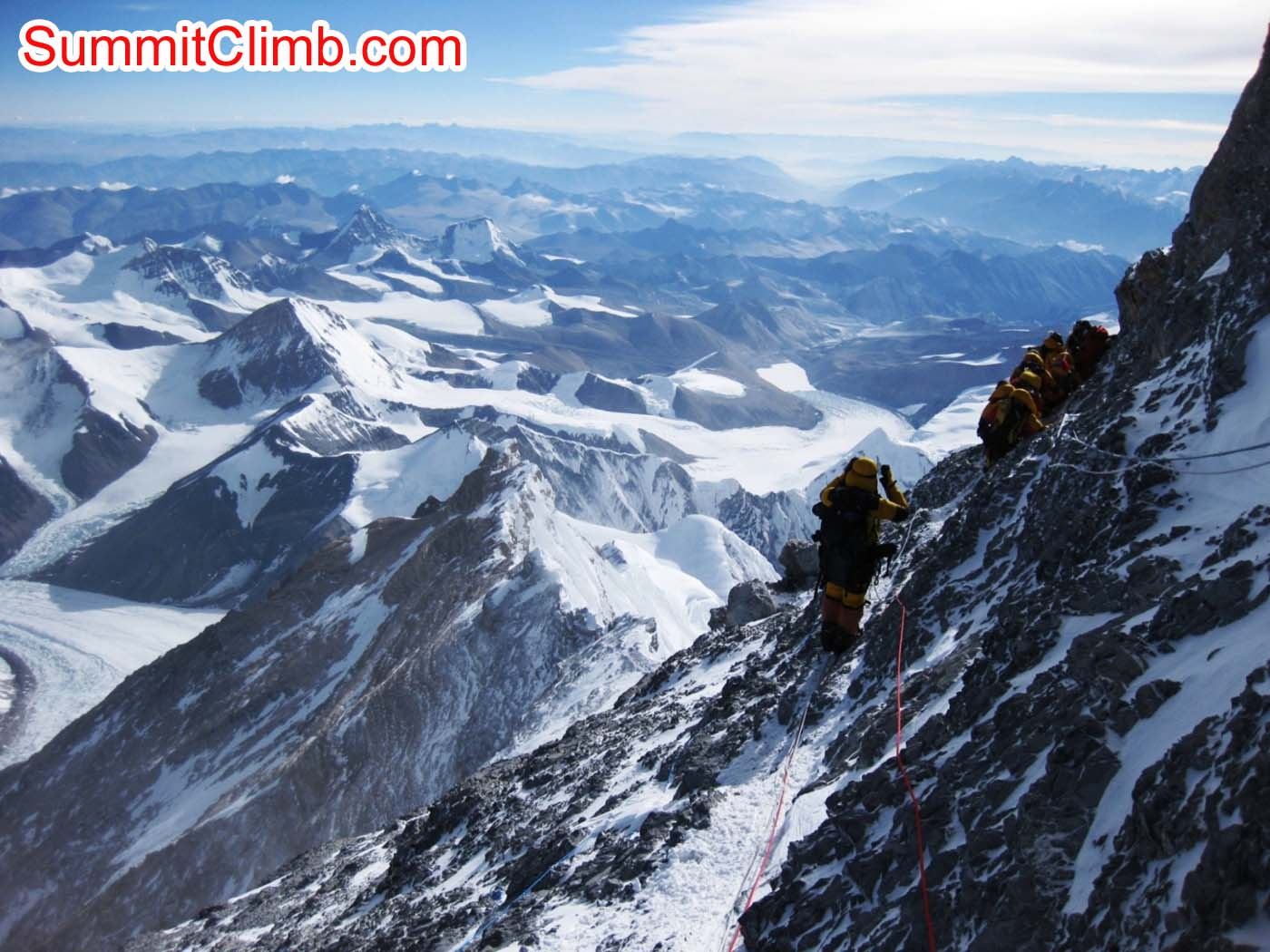 Climber descending Everest between 3rd step and 2nd step - photo Mia Graeffe