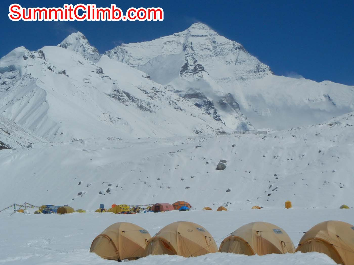 Everest and Basecamp after storm dropped over 1 meter of snow at Basecamp - Photo Scott Patch