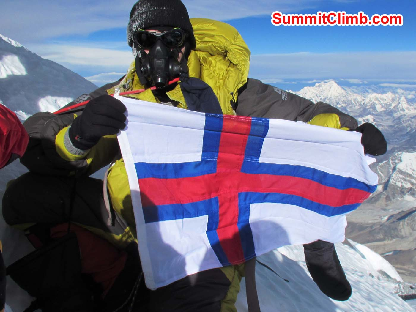Arni Vatnhamar on summit of  Everest. First individual from Faroe Islands to summit Mount Everest. CONGRATULATONS!! Photo - Arni Vatnhamar
