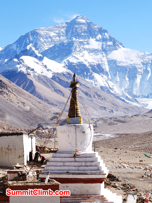 Ancient Rongbuk Monastery in front of Everest.