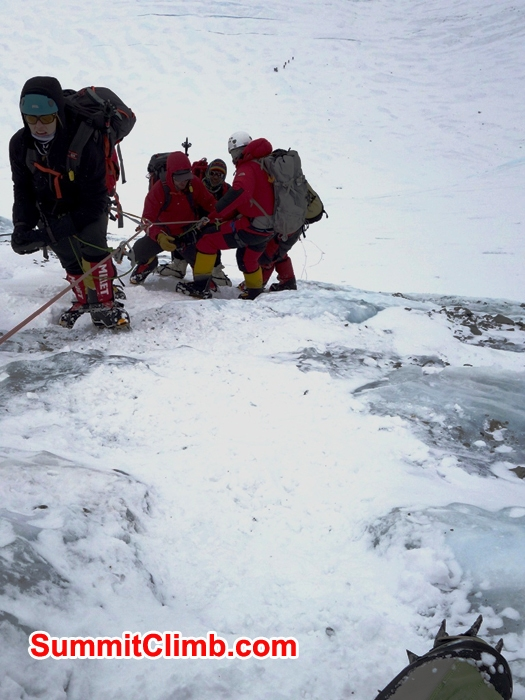 Ascending team overtakes descending team on Lhotse Face. Franz Ruehrlinger Photo