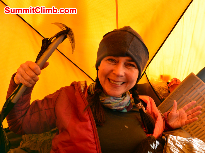 Basia Gorska at camp 3. Photo by Sange Sherpa.