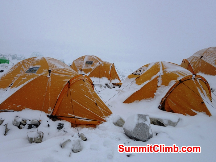 Camp 2 in a snow storm. Franz Ruehrlinger Photo