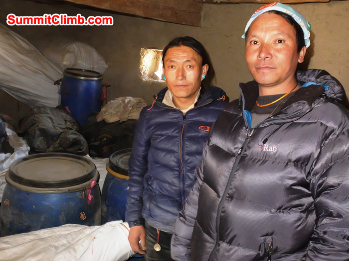 Chimi and Dorje in SummitClimb Cho Oyu and Shishapangma storeroom.