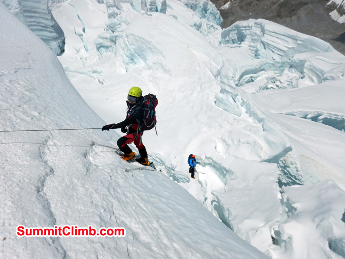 Climbing up in high camp with the help of rope