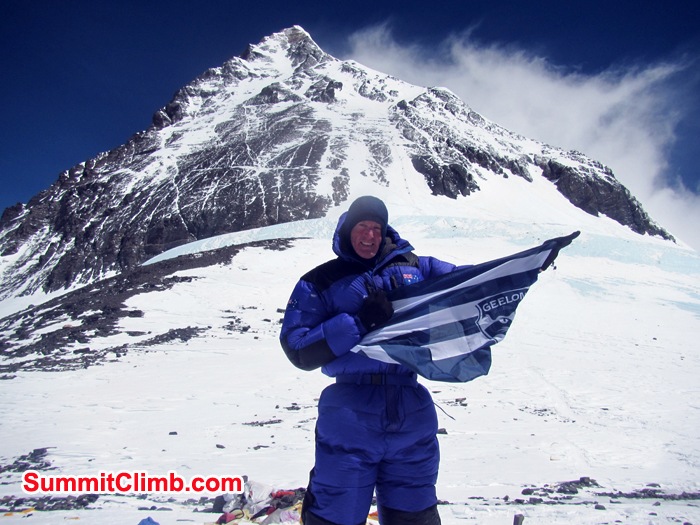 Damian Bourke at the south col summit. Photo Damian